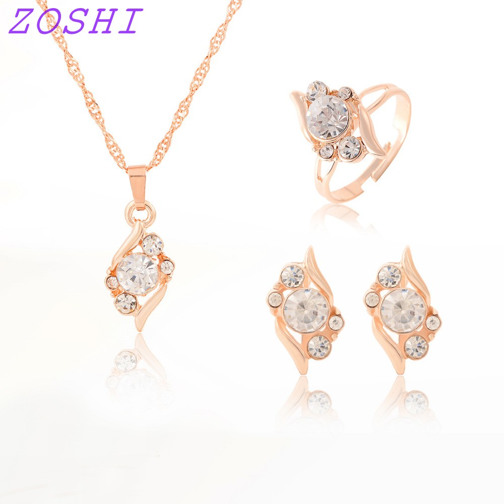 ZOSHI Woman's Birthday Gift Wedding Jewelry Set Gold Color Chain Crystal Necklace Ring Earring 3 Pcs/set