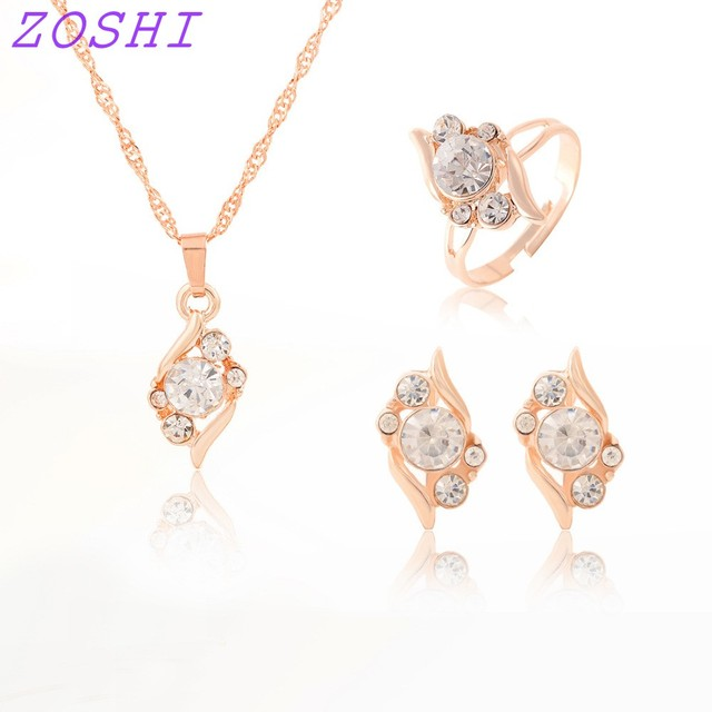 ZOSHI אישה של יום הולדת מתנת חתונת תכשיטי סט אופנה זהב צבע שרשרת קריסטל שרשרת טבעת עגיל 3 יח'\סט