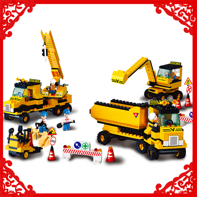 SLUBAN 9700 Block Compatible Legoe Excavator Forklift Crane Model 474Pcs DIY Educational  Building Toys Gift For Children new lepin 16008 cinderella princess castle city model building block kid educational toys for children gift compatible 71040