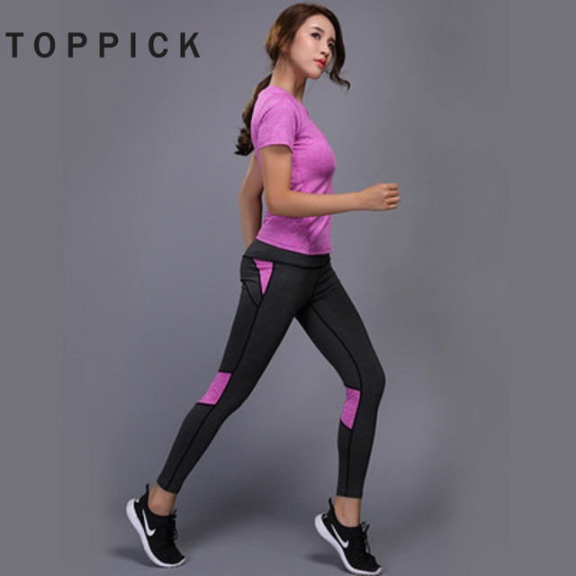 12074422bd387 US $7.97 35% OFF Toppick Fitness Quick Dry Two Piece Yoga Set Summer  Shirt+Pants Workout Suit Trainingspak Vrouwen Plus Size Tracksuit Women-in  Yoga ...
