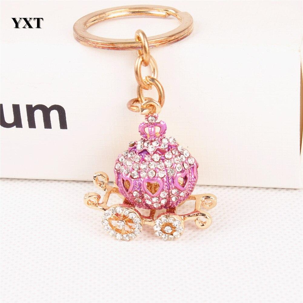 Pumpkin Carriage Lovely Cute Crystal Charm Purse Handbag Car Key Keyring Keychain Party Wedding Delicate Gift Hot Selling