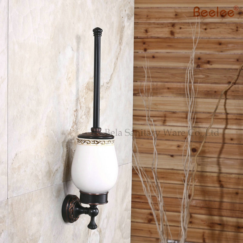 Beelee BL8405B Bathroom Ceramic & Brass Wall Mount Lavatory Toilet Brush with Holder Wall Mount Solid Brass Oil Rubbed Bronze leyden oil rubbed bronze toothbrush tumbler holder brass toothbrush holder