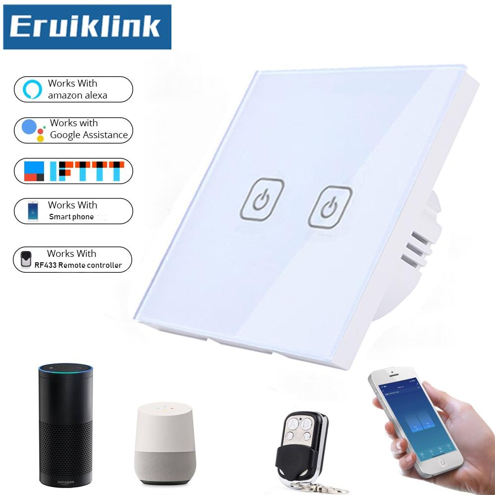EU/UK Standard 1/2/3 Gang 1 Way Remote Control Light Switch,Crystal Glass Panel Smart Phone Tuya APP/Wifi Touch Control Switch