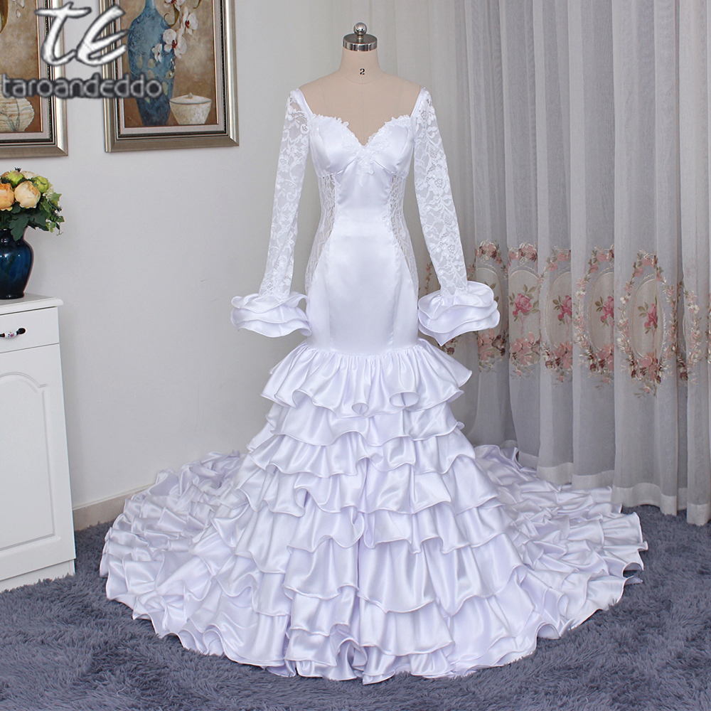 Princess Ruffled Train Mermaid Satin Wedding Dress with Bell Sleeves See Through Open Back Bridal Dress vestidos de noivas