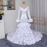 Princess Ruffled Train Mermaid Satin Wedding Dress with Bell Sleeves See Through Open Back Bridal Dress vestidos de noivas