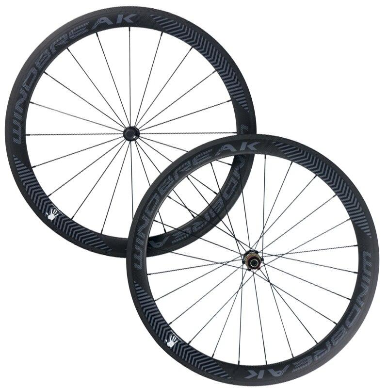 Roues tubulaires de route de fibre de 50mm de roue de carbone de rupture de vent roue de vélo de route de largeur de 23mm