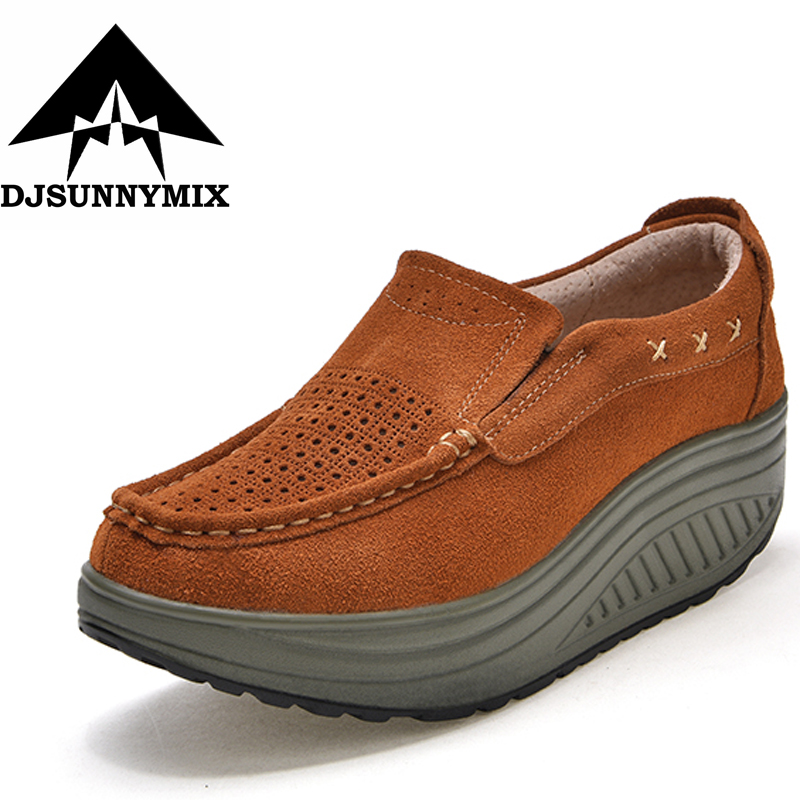 DJSUNNYMIX New Women Casual Shoes Genuine Leather Breathable Height Increasing sneakers Fashion Swing Shake Shoes free shipping candy color women garden shoes breathable women beach shoes hsa21