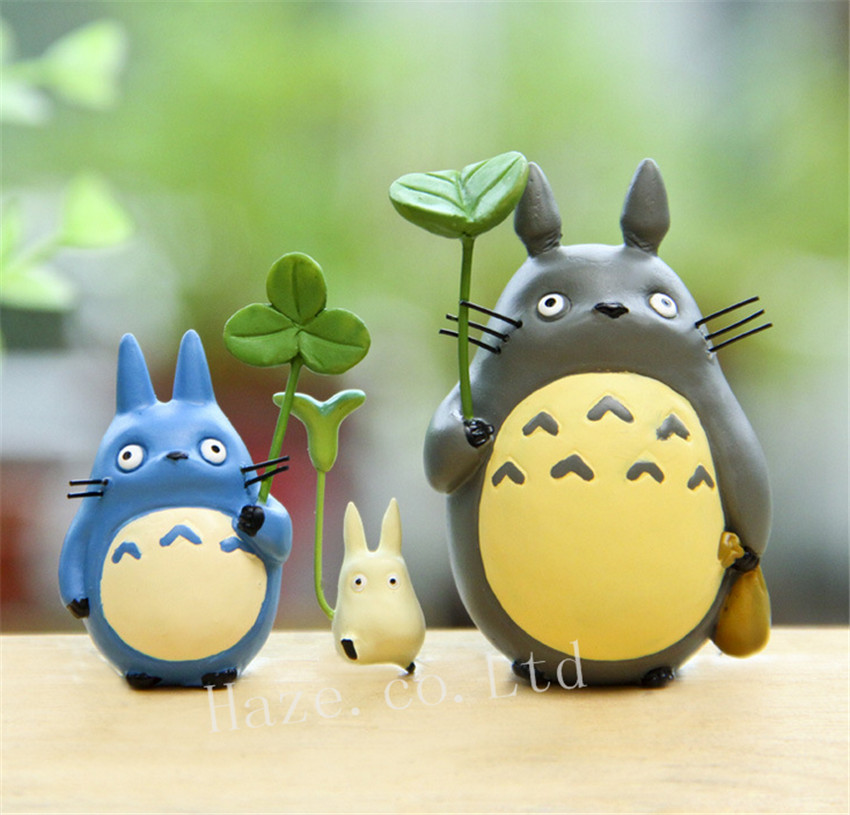 3PCS Studio Ghibli Totoro Resin Figure Figurine Collectible in Action Toy Figures from Toys Hobbies