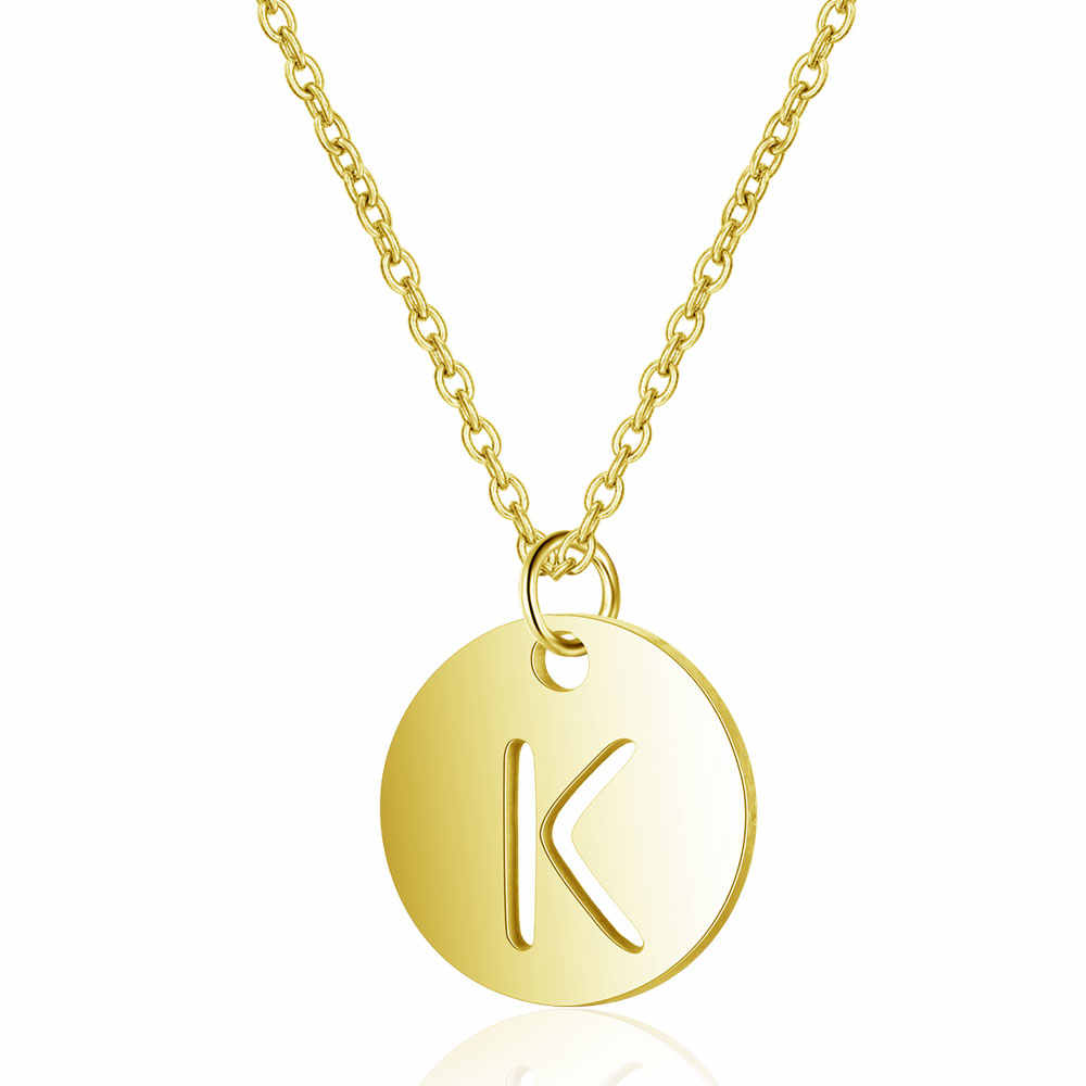 Gold Initials Necklace 316L Stainless Steel Women Jewelry Choker A-Z 26 Letters Hollow-out Initial Pendant Necklace Gifts