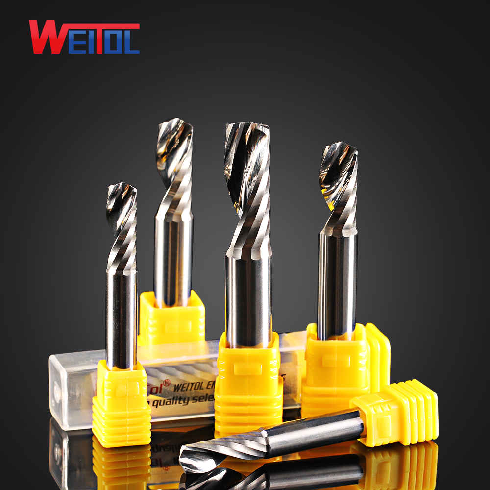 цена на Free shipping High Quality Carbide One Single Flute End Mill Tools Single Flute CNC Router Bits Spiral PVC Cutter