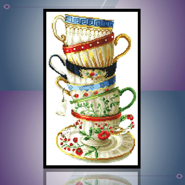 Stack Of Coffee Cups Diy Full Diamond Painting Stone Pictures Cross Sch Needlework Mosaic Embroidery