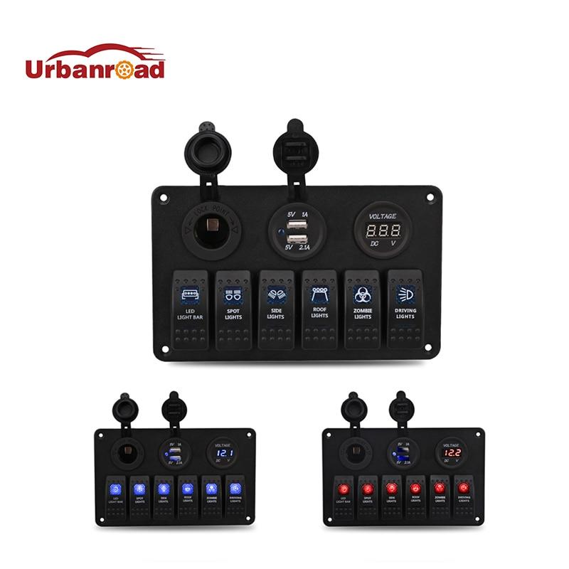 12 В 24 в 6 банд светодиодный выключатель, панель выключателя, зарядное устройство, два USB гнезда, прикуриватель, штекер вольтметра, автомобиль