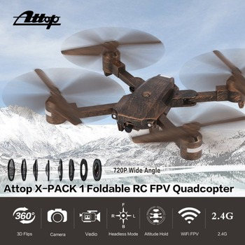 Attop X-PACK1 Camera Drone 720P HD WIFI FPV With Wide Angle Foldable Camera Live Video RC Quadcopter with Altitude Hold Headless drone sparc