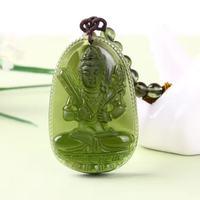 1 Natural Czech Moldavite Green Aerolites Carved Buddha Lucky Amulet Pendant Crystal Energy Apotropaic Free Rope