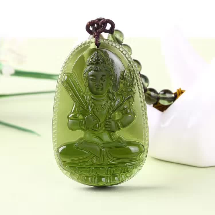 1 Natural Czech Moldavite green aerolites Carved Buddha Lucky Amulet Pendant crystal energy apotropaic free rope Unique Necklace wonderful handwork natural grade a green jadeite carved turtle crane lucky amulet pendant free necklace certificate jewelry