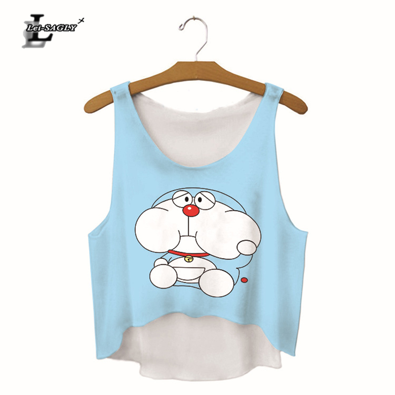 Lei-SAGLY Women Summer Fashion Sexy Tank Tops Doraemon Digital Print Crop Top Fitness Top For Woman 2018 New Design