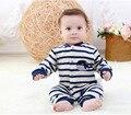 Romper do bebê listras Moda Outono meninos Define Vestuário Roupa Bebes Recém-nascidos Do Bebê Roupas de Inverno meninas Do Bebê Roupas Macacão Infantil
