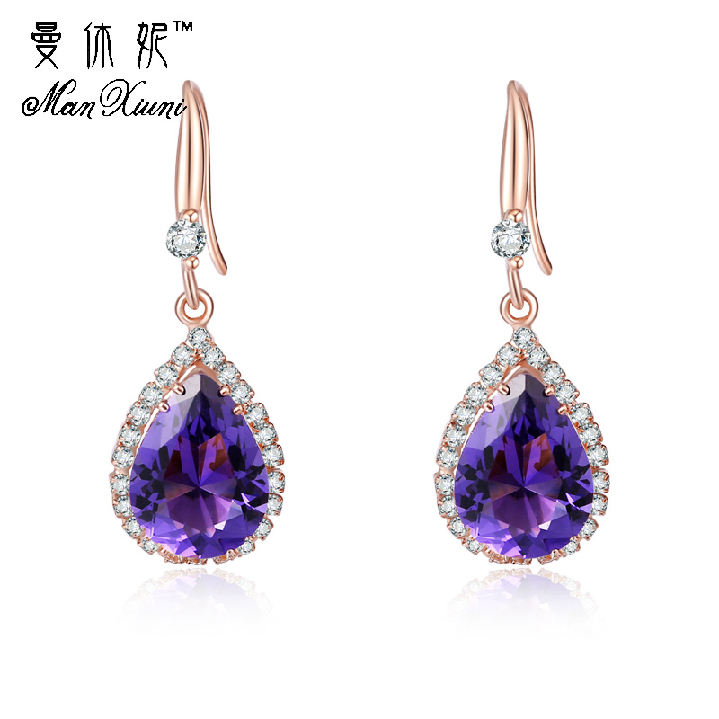 Manxiuni AAA Cubic Zirconia Drop Earrings with Tiny CZ Luxury Bridal Wedding Earrings for Women White Gold Color Wholesale