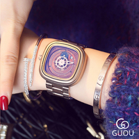 GUOU Square Women Bracelet Watch Big Face Gold Plated Steel Belt Ladies Wristwatches Date Waterproof Quartz Watches Woman Clock