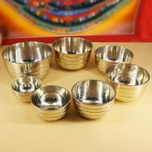 7 шт. набор тибетских латунных чаш ручной работы с подарочной коробкой и нападающим