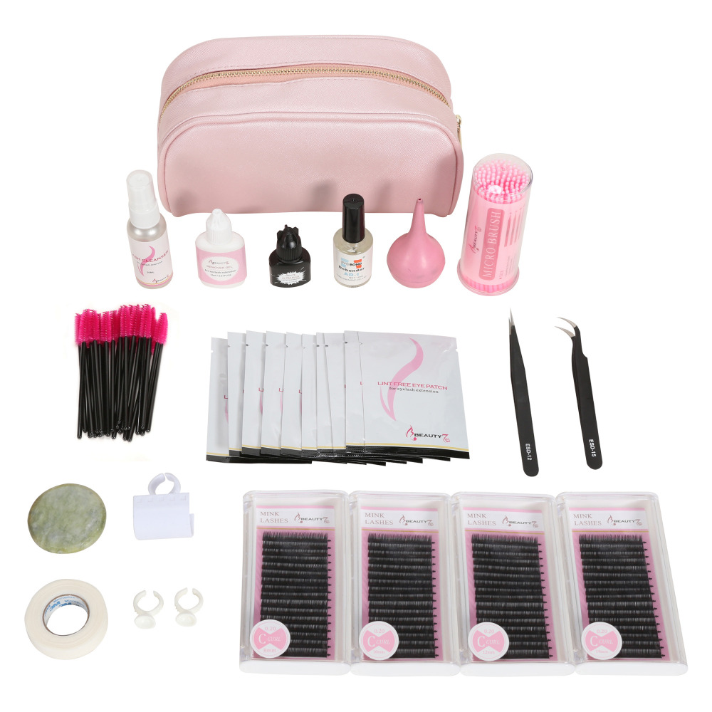 BEAUTY7 Makeup Tools Set Natural False Eyelash Extension Individual Mink Eyelashes Glue Tweezer Tools Kit Bag Graft Fake Eyelash beauty7 100pcs pack 2 0mm disposable micro brushes individual lash removing tools swab eyelash extension makeup tools pink
