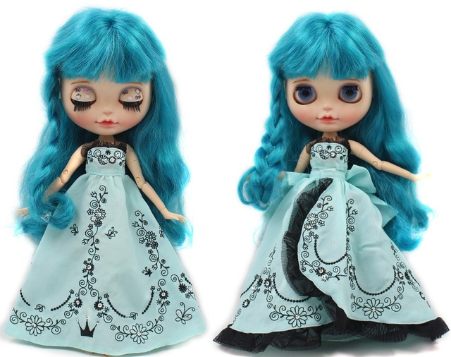 Neo Blythe Doll Blue Wedding Lace Dress With Knot Bow