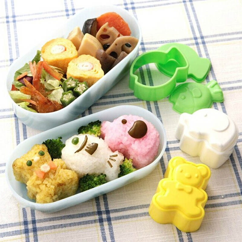 3Pcs Cute Cartoon Sushi Rice Mold Animals Shape Bento Mold Sushi Shaper For Kid Gift DIY Tool Kitchen Gadgets Kitchen Accessorie image