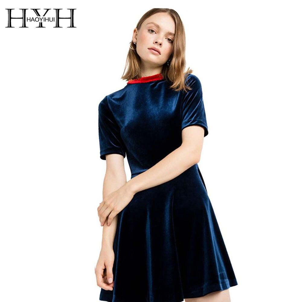 HYH HAOYIHUI Women Dress Sexy Short Sleeve Velvet A-line Mini Dress High Waist Shaping Slim Elegant Streetwear Dress Vestidos