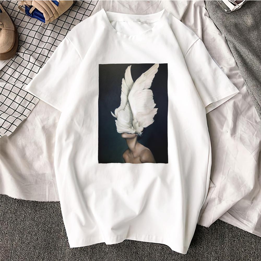 Fashion Short Sleeve TShirt Wings Feather Surreal Artwork Printed 100% Cotton Top Tees Casual O Neck T-Shirt Unisex TShirt
