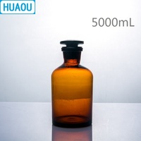 HUAOU 5000mL Narrow Mouth Reagent Bottle 5L Brown Amber Glass with Ground in Glass Stopper Laboratory Chemistry Equipment