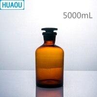 Huaou 5000 ml 좁은 입 시약 병 5l 갈색 앰버 유리 유리 마개와 함께 실험실 화학 장비