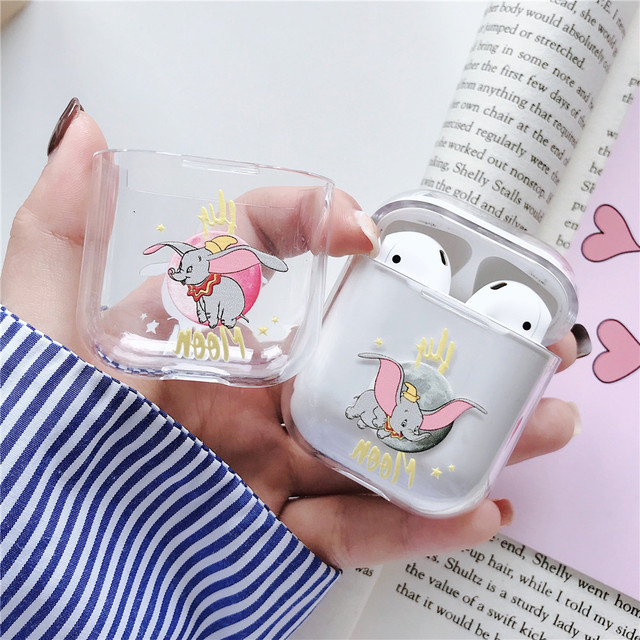 Dumbo Fly Elephant Cute Clear PC Hard Case for Apple Airpods Wireless Bluetooth Earphone Transparent Headset bags Pouch Box