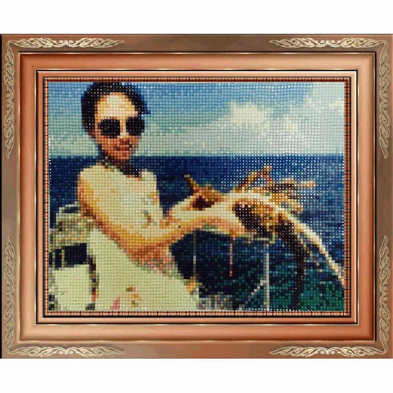 Алмазная картина Полная площадь дрель украшение дома вышивка крестиком Мозаика Алмазная вышивка Луна девушка держа картина с кроликом