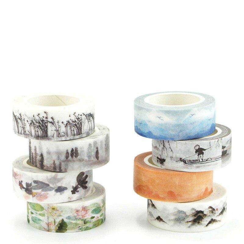 Landscape Painting Masking Washi Tape Decorative Adhesive Tape Decor Diy Scrapbooking Sticker Label Stationery