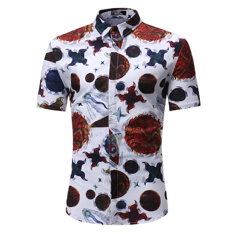 Fashion Mens shirt with a short sleeve slim fit buttons male shirt cell print brands casual chinese social hawaiian shirts 2018