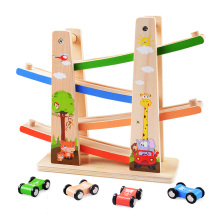 Baby Kids Slot Track Car Toys Wooden Ladder Gliding Wooden Slot Track Educational Model To Slide for Children Boy Gifts Spare цена и фото
