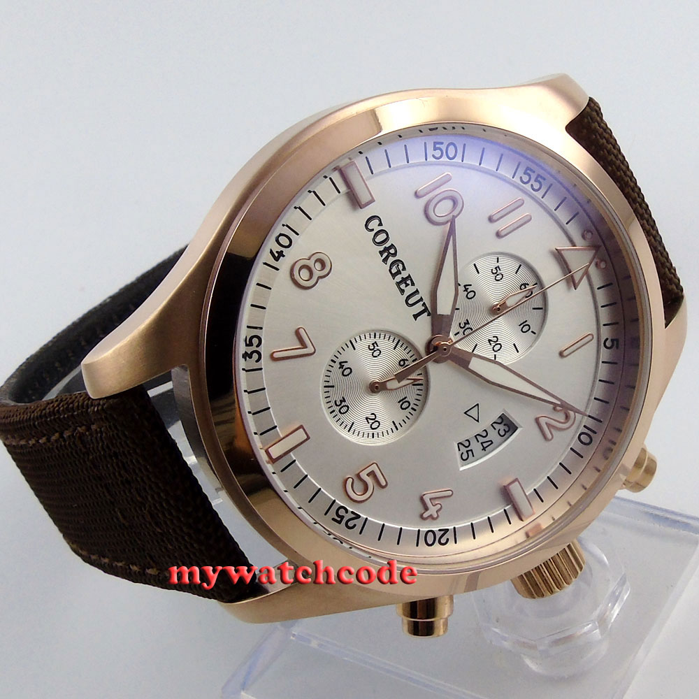 46mm corgeut white dial tripe day quartz full chronograph mens watch C25