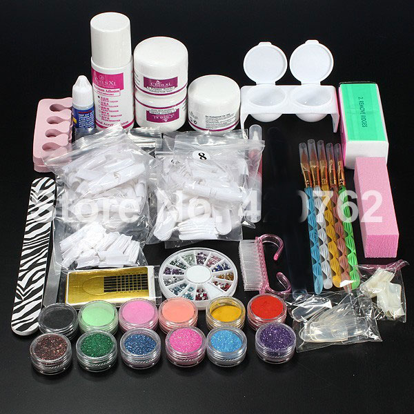 BTT-110 Trasporto Libero Nuovo Pro Acrylic Liquid Powder Brush Glitter Pinzette Primer Nail Art Tips Tools Kit Set