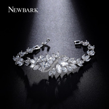 NEWBARK Charm Ice Flower Bracelets & Bangles Marquise Cut Silver Color CZ Jewelry Bracelets For Women Christmas Gifts