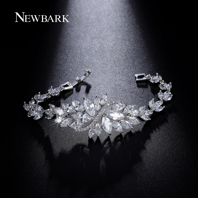 NEWBARK Charming Ice Flower Bracelets & Bangles Marquise Cut White Gold Color CZ Jewelry Bracelets For Women Christmas Gifts