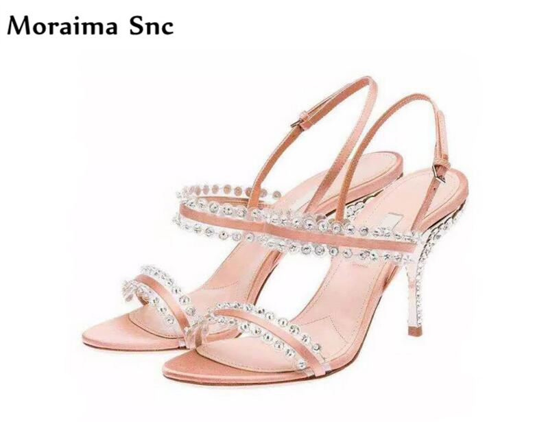 Moraima Snc 2018 Newest sexy female sandals PU leather open toe crystal Decoration thin high heel slingback party shoes moraima snc newest sexy women black string bead concise type sandals open toe thin high heel ankle strap hook solid party shoes