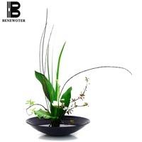 Japanese Style Flower Arrangement Basin Brief Exquisite Plastic Flower Pot Fruit Plate Tabletop Hydroponics Flowerpot Home Decor