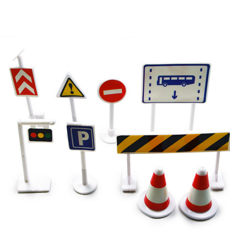 1pc Mini Foreign Trade Roadblock Signpost Kids Traffic Lights Sign Model Technology Learning Educational Toys for Children Gifts