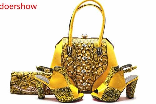 Blue À Et Femmes Pierres Décoré Doershow Ensembles 15 Ensemble Mode Italie pourpre Chaussures Sac En rouge Red jaune coffee Avec Correspondant Smq1 fqwxav4