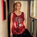 FSJ Beonce Toros Letras Lentejuelas Camisetas Sin Mangas Vestido de Las Mujeres Del Paillette Brillante Elegante Casual Tops Ropa Rihanna