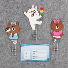 Women Men Badge Scroll Nurse Reel Bear PVC Character Scalable Colors Little Girls Exhibition ID Plastic Doctor CardHolder
