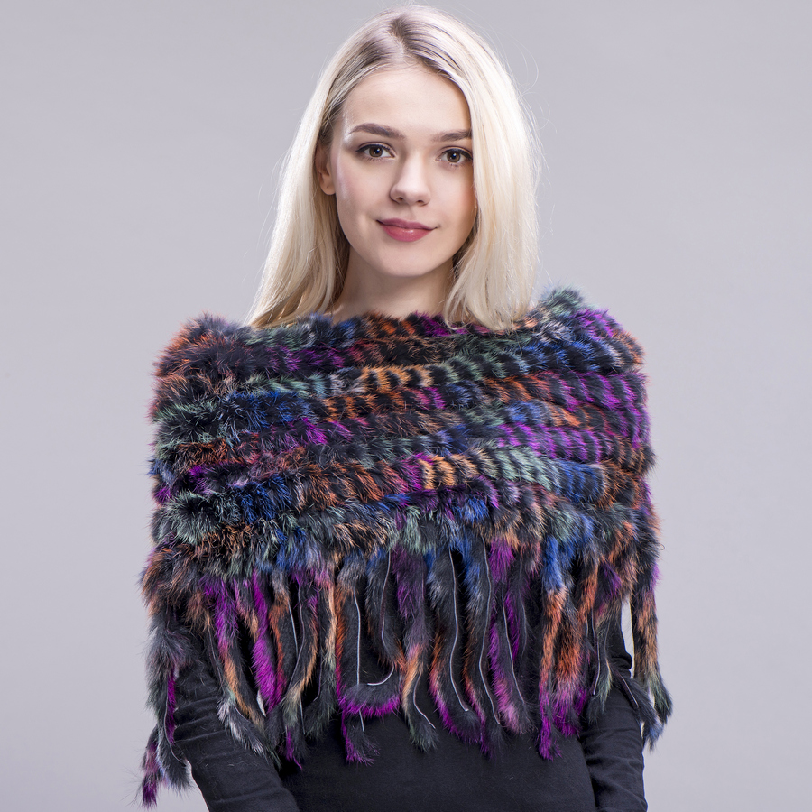 ZDFURS* new style Real Knitted rabbit Shawl Natural rabbit fur poncho stole shrug cape fur wraps women scarves in winter warmer