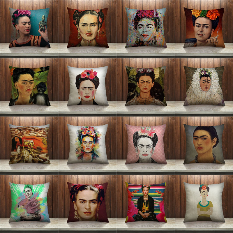 frida carlo self portrait cushion cover prank style pillowcase cotton seat home decorative. Black Bedroom Furniture Sets. Home Design Ideas