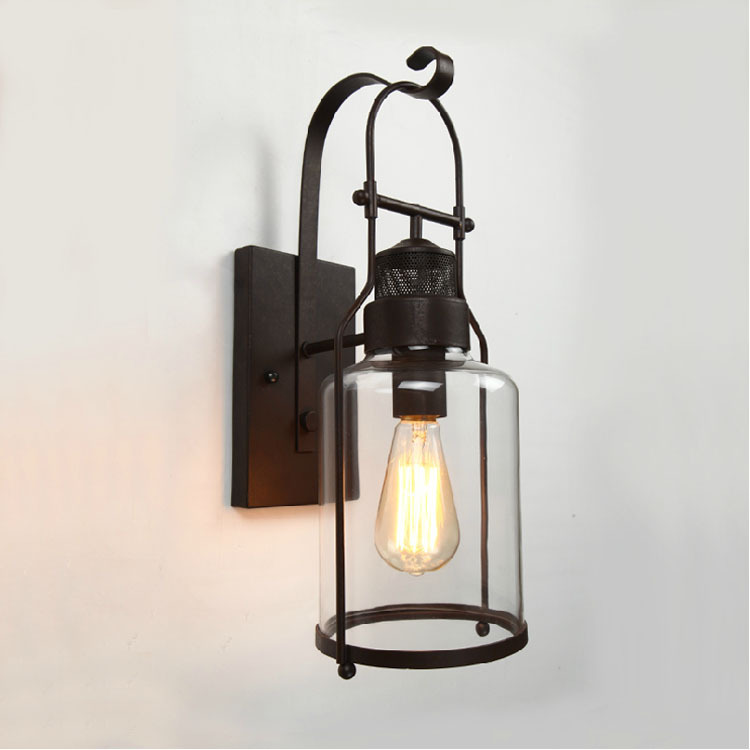 Vintage Retro Designer Wall Light Clear Glass Lampshade Loft Bar Cafe Bedside Wall Lamp E27 Bulbs Wall Lighting Fixture clear glass cover outdoor retro wall light metal frame glass wall lamp lighting fixture aisle wall sconce