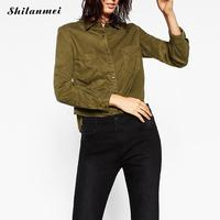 Casual New Ladies Long Sleeve Crop Top Blouse Cotton Shirt Turn Down Collar Work Office Wear
